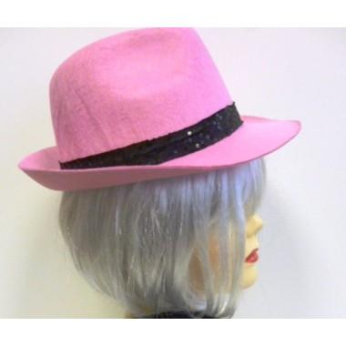 Rózsaszín gengszter kalap flitteres