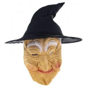 Boszorkány kalap hajjal, maszkkal