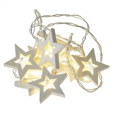 20 LEDes fényfűzér fa csillag ezüstdrót melegfényű beltéri elemes