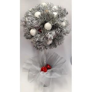Karácsonyi fehér-ezüst gömb asztaldísz