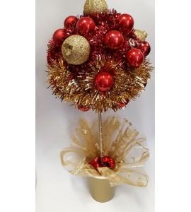 Karácsonyi piros gömb asztaldísz