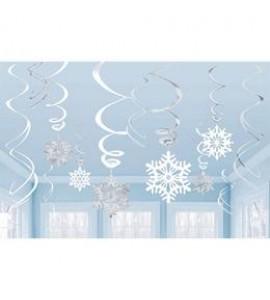 Karácsonyra Spirális Hópelyhes Függő Dekoráció