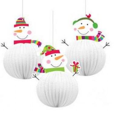 Karácsonyra  Hóemberes  Lampion Függő Dekoráció