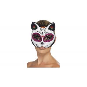 Csontváz- macskanő maszk glitteres