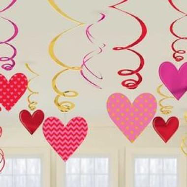 Szívek Spirális Szerelmes Függő Dekoráció - 12 db-os