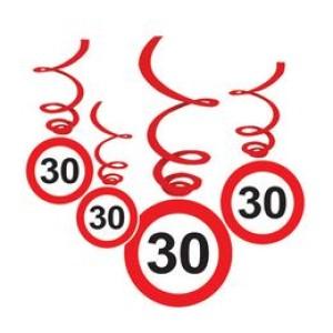 30-as Sebességkorlátozó Szülinapi Függődekoráció - 6 db-os