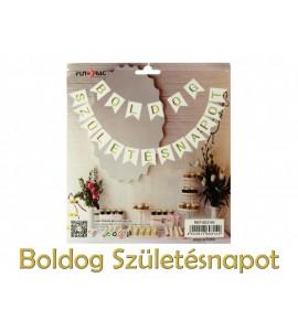 Zászlófüzér Boldog Születésnapot fehér/arany