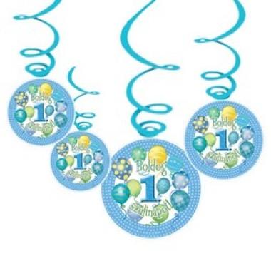 Boldog 1. Szülinapot! Léggömbös Kék Fiús Parti Függődekoráció - 6 db-os