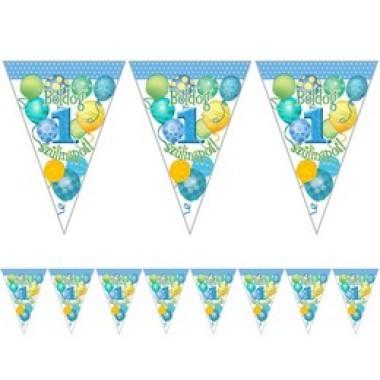 Boldog 1. Szülinapot! Léggömbös Kék Fiús Zászlófüzér - 5 m
