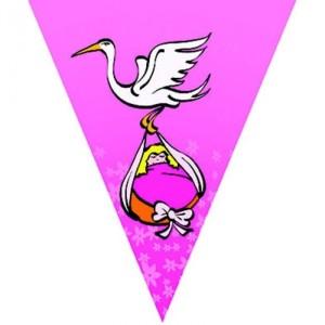 Zászló fűzér gólya hozza,  pink , 5m