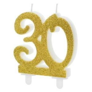 Dupla évszámos arany gyertya 30