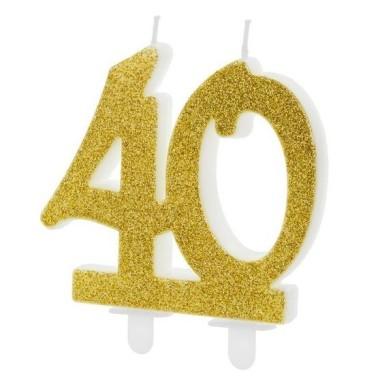 Dupla évszámos arany gyertya 40