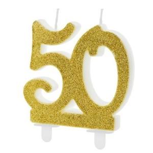 Dupla évszámos arany gyertya 50