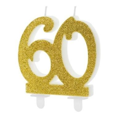 Dupla  évszámos arany gyertya 60