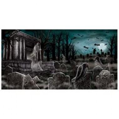 Félelmetes Kísértet Temető Dekorációs Parti Banner - 85 cm x 165 cm