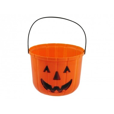 Halloween tök cukorkatartó vödör 19x15cm