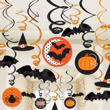 Denevérek, Tökök és Pókok Spirál Függő Dekoráció Halloweenre, 30 db-os