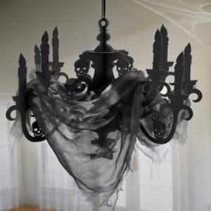 Fekete Koponyás Csillár Dekoráció Halloween-ra - 41 cm x 58 cm