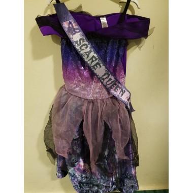 Halloween-re lila válszalagos kislány ruha