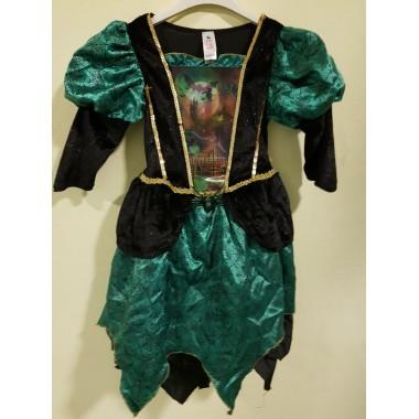 Halloween-re zöld kisértet kastélyos kislány ruha