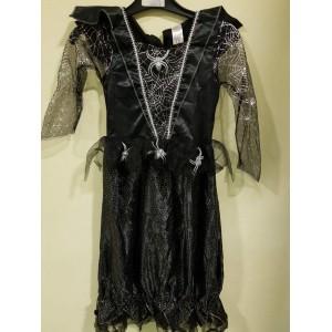 Halloween-re kislány fekete pókos ruha