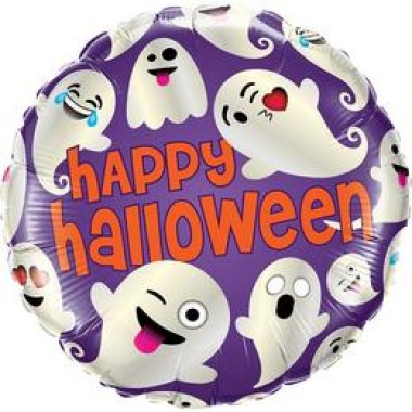 18 inch-es Happy Halloween Ghost Emoticon Icon Fólia Lufi