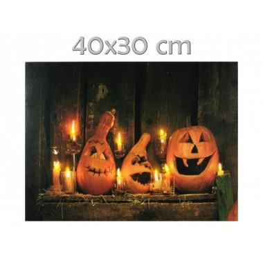 9 LEDes falikép Halloween 40x30cm