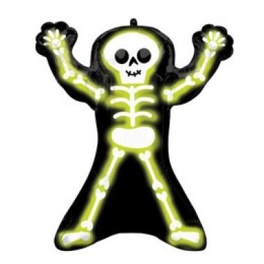 Neon Csontváz - Neon Skelly Super Shape Fólia Lufi Halloween-re