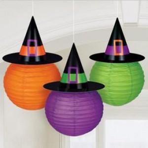 Boszorkány Kalapos Színes Lampion Válogatás Halloweenre - 24 cm, 3 db-os