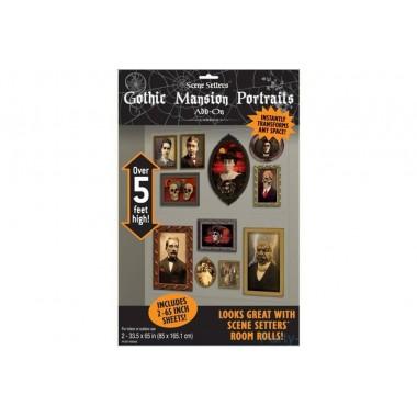 Antik horror Portrék Fal vagy Ajtódekoráció Halloweenre - 165 cm x 85 cm