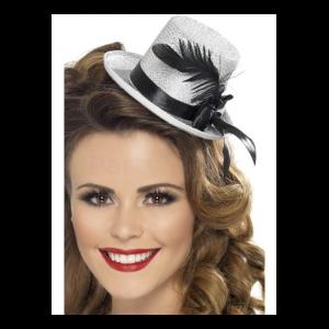Mini kalap ezüst színű, fekete szalaggal