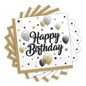 Elegáns Léggömbös Happy Birthday Szülinapi Parti Szalvéta