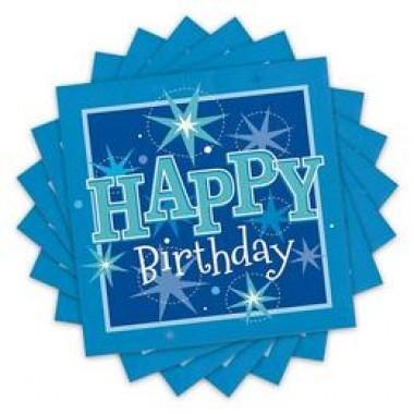 Happy Birthday Kék Sparkle Szülinapi Parti Szalvéta