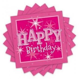 Happy Birthday Rózsaszín Sparkle Szülinapi Parti Szalvéta