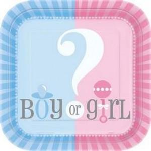 Papírtányér 17cm 8db Girl or Boy