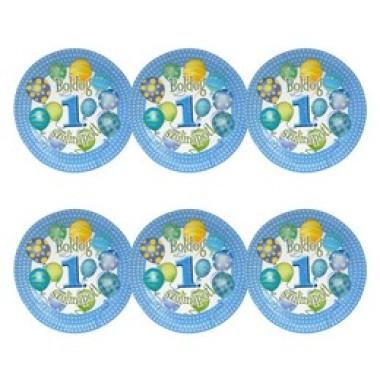 Boldog 1. Szülinapot! Léggömbös Kék Fiús Parti Tányér, 23 cm, 6 db-os