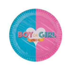 Papír tányér, BOY OR GIRL felirattal 8 db/csomag. Méret: átmérő 23 cm.