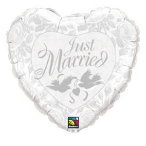 18' fóliás Just Married szív forma lufi