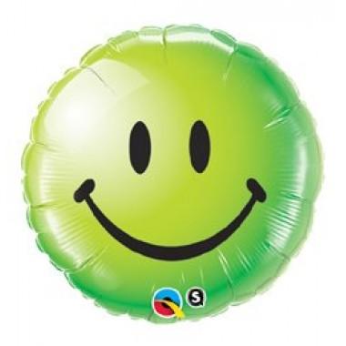 18' mosolygó zöld arc fóliás lufi