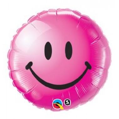 18' fóliás mosolygó rózsaszín arc lufi