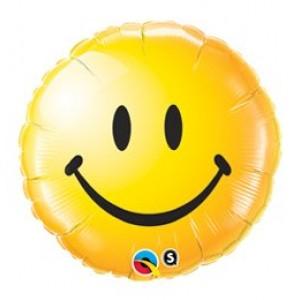 18' mosolygó sárga fóliás lufi
