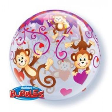 22' szerelmes majmos bubble fóliás lufi
