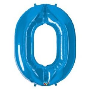 1 méteres kék fóliás 0-ás  számú lufi