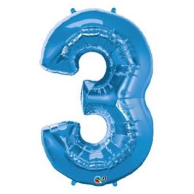 1 méteres kék fóliás 3-as  számú lufi