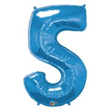 1 méteres kék fóliás 5-ös  számú lufi