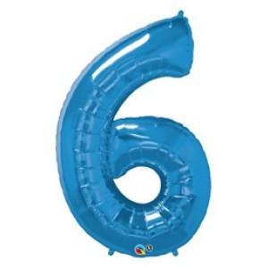 1 méteres kék fóliás 6-os  számú lufi