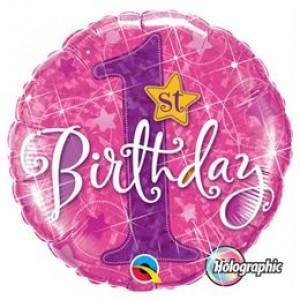 18 inch-es 1st Birthday Stars Pink Elsõ Szülinapi Holografikus Fólia Lufi