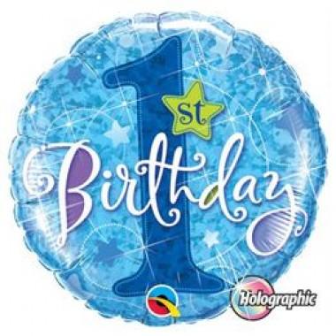 18 inch-es 1st Birthday Stars Blue Elsõ Szülinapi Holografikus Fólia Lufi
