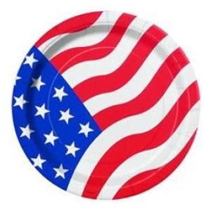 Amerikai zászlós parti tányér