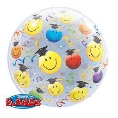 Ballagási 22' mosolygó arcok bubble fóliás lufi